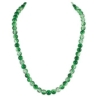 Eternal Collection Carnival Green Czech Glass Crackle Bead Silver Tone Long Necklace