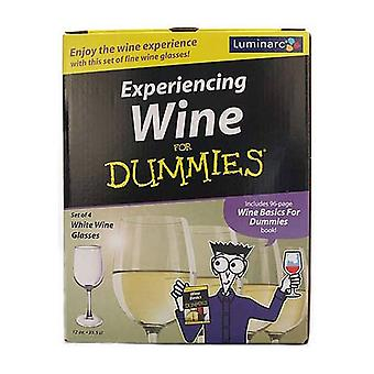 Luminarc Wine for Dummies White Wine Glass Gift Set - Includes 4 Glasses and Book