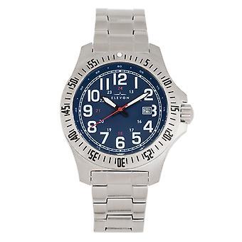 Elevon Aviator Bracelet Watch w/Date - Silver/Blue