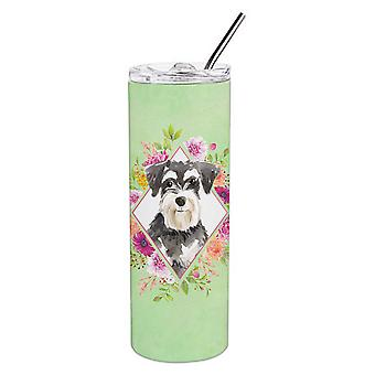 Schnauzer #2 Green Flowers Double Walled Stainless Steel 20 oz Skinny Tumbler