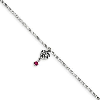 Polished finish Dark Pink Crystals Dangling Love Hearts Anklet Spring Ring Jewelry Gifts for Women - Length: 9 to 10