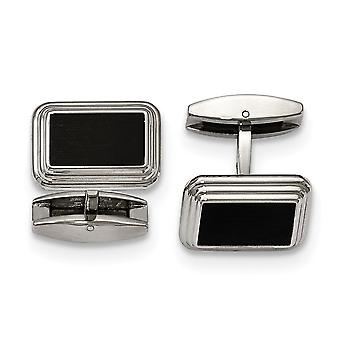 Stainless Steel Brushed Polished Black Ip Plated Cuff Links Jewelry Gifts for Men