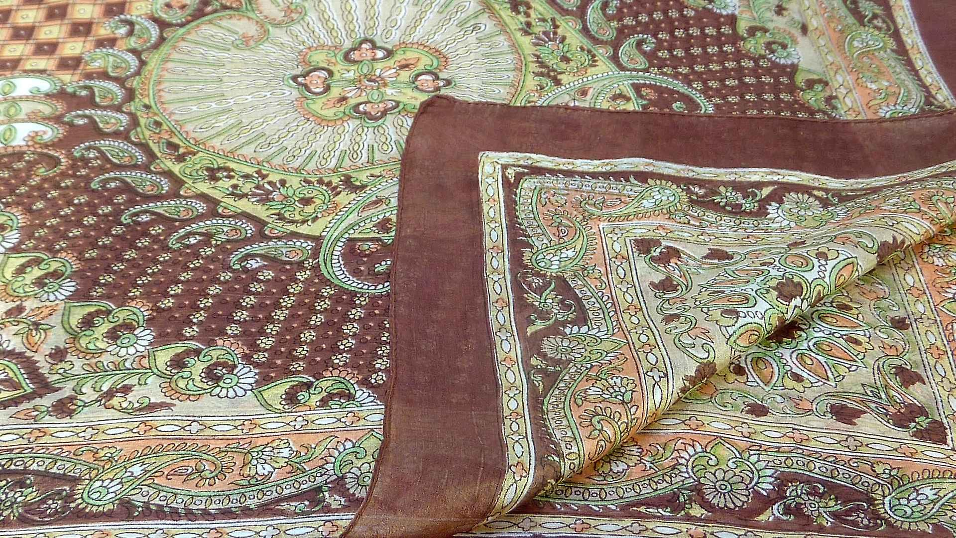 Mulberry Silk Traditional Square Scarf Omana Chocolate by Pashmina & Silk