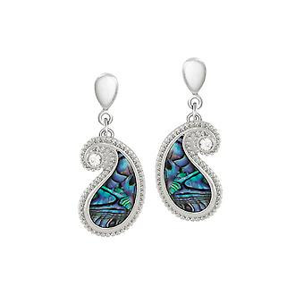 Eternal Collection Paisley Paua Shell And Crystal Silver Tone Drop Clip On Earrings