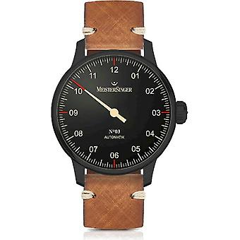 MeisterSinger Men's Watch No 03 Black Line One-Hand Watch Automatic AM902BL_SVSL03