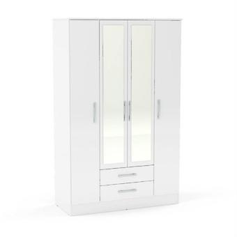 Lynx 4 deur 2 lade kast met spiegel-wit