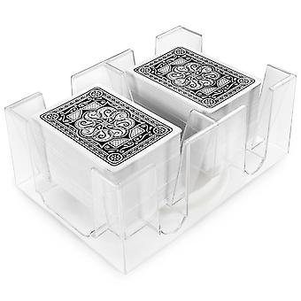 6-Deck Rotating Card Holder - Revolving Playing Card Tray