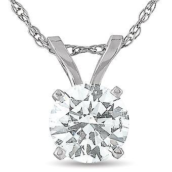 1/2 Karat Solitär Lab gewachsen Diamant Anhänger 14K Weißgold