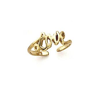 14k Yellow Gold Love Toe Ring Jewelry Gifts for Women - .8 Grams