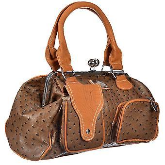 Onlineshoe Damen übergroße Vintage Tote Handtasche - zwei Ton braun