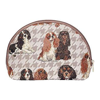 Cavalier king charles spaniel big cosmetic bag by signare tapestry / bgcos-kgcs