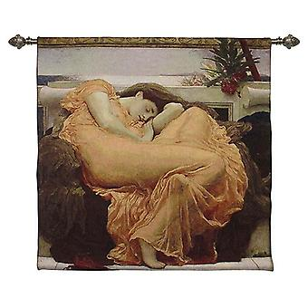 Sir fredrick leighton - flaming june wall hanging by signare tapestry / 100cm x 100cm / wh-fl-flam
