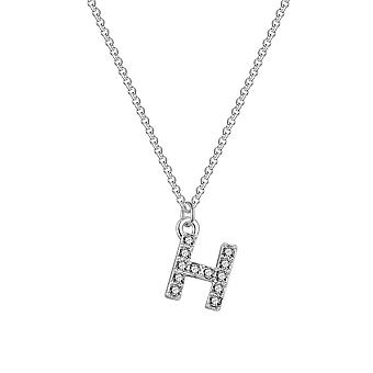 Pave initial necklace letter h created with swarovski® crystals