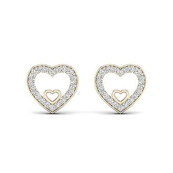 IGI Certified 10k Yellow Gold 0.12ct TDW Diamond Heart Stud Earrings