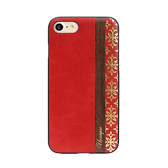Genuine Wood Red/Gold iPhone SE / 8 / 7 Case