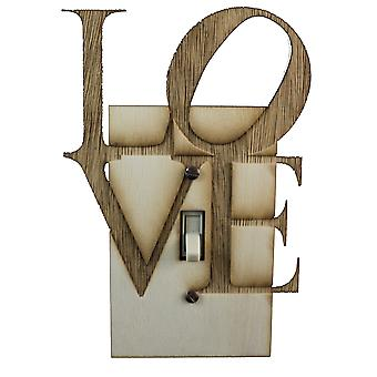Love square switch plate - raw wood -4.6
