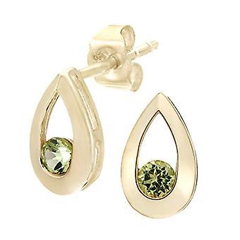 Citerna Women's Pin Earrings - Yellow Gold - Peridotite