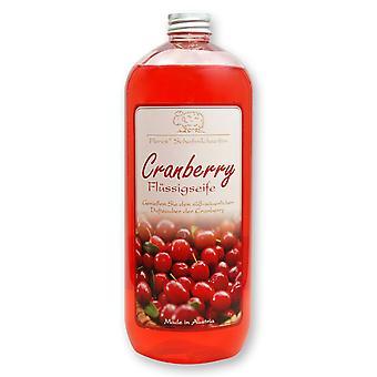 Florex Flüssigseife mit Schafmilch Cranberry in der Flasche 1 Liter Nachfüller
