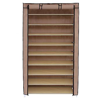Wide fabric shoe cabinet - 10-ply - beige or brown