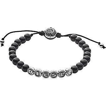 Diesel DX1088040 - STACKABLES man 16 black AGATE beads jewelry bracelet