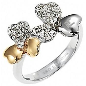 Ring Ted Lapidus Floral D21124SDZ - ring steel two-tone and rhinestones