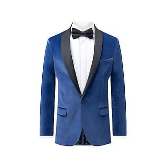 الملتوية خياط الرجال مشرق البدلة الرسمية الزرقاء عشاء سترة نحيف صالح المخملية التباين شال لابل
