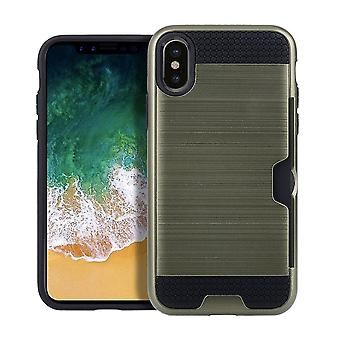 For iPhone XS,X Case,Modern Brushed Armour Protective Cover Card Slot,Army Green