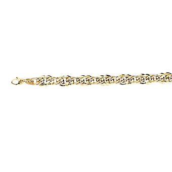 14k Yellow and White Gold Two tone Mix Link Hollow Bracelet 7.50 Inch Jewelry Gifts for Women