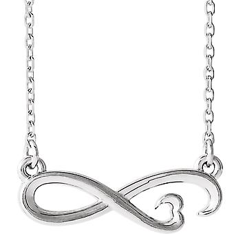 925 Sterling Silver Polished Infinity Love Heart Necklace Jewelry Gifts for Women - 2.3 Grams