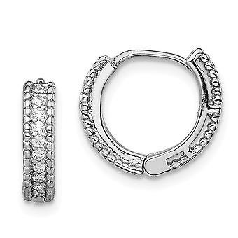 925 Sterling Silver Polished CZ Cubic Zirconia Simulated Diamond for boys or girls Hinged Hoop Earrings