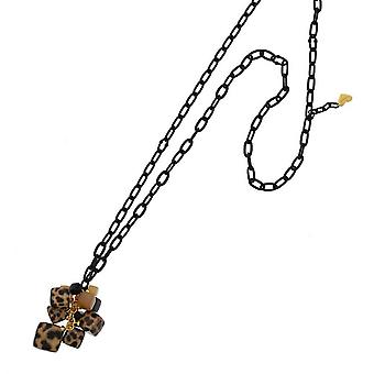 Nour London Leopard Design Resin Cube Necklace