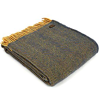 Tweedmill Pure New Wool Herringbone Navy & Mustard Throw