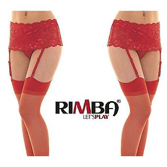 'Rimba Lingerie' Red Wide Lace Floral Suspender Belt With Stockings (R