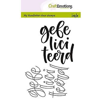 CraftEmotions Clear Stamps A6 - handletter - gefeliciteerd (NL) Carla Kamphuis