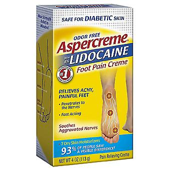 Aspercreme with 4% lidocaine foot pain creme, odor free, 4 oz
