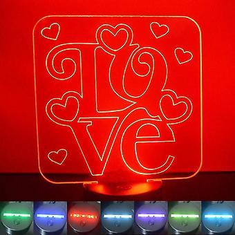 Elsker ord & hjerter Square farge skiftende LED akryl lys