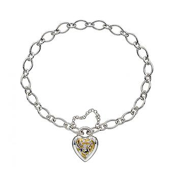 Elements Silver Sterling Silver Heart Lock Yellow Gold Plating Bracelet B5234