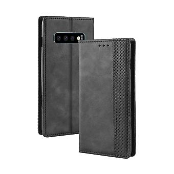 Samsung Galaxy S10 tapauksessa retro rakenne PU nahka folio lompakko kansi, musta