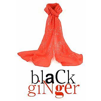 Black Ginger Diamantina Neon Orange Sparkle Scarf (734-229)