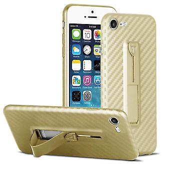 Protection Cell Phone Case pour Apple iPhone 7/8 Appelant Hard-Plastic Kickstand Gold