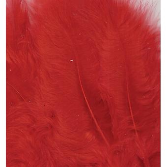 Marabou Feathers, Red, 15pcs