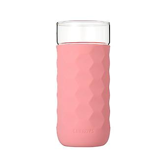 CREADYS Honeycomb Glass with Silicone Sleeve 380ml in Pink