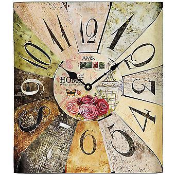 AMS 9460 wall clock quartz analog square vintage antique retro shabby with roses décor