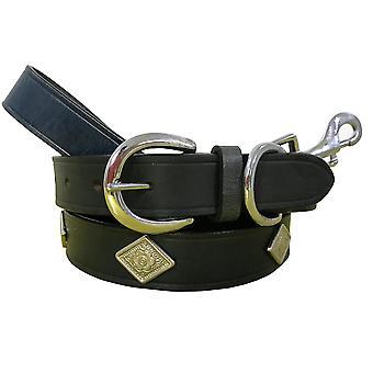 Bradley crompton véritable cuir correspondant collier de chien paire et ensemble de plomb bcdc20black