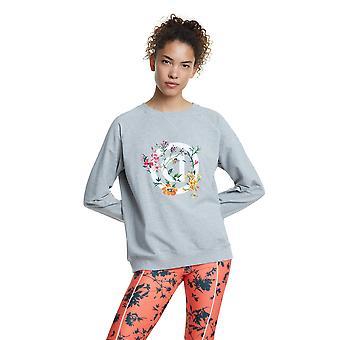 Desigual Sport Crewneck Logo Street Garden Sweater Grey Reverse D & Flowers