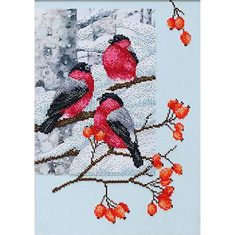 VDV Bead Embroidery Kit - Bullfinches in a Dog Rose