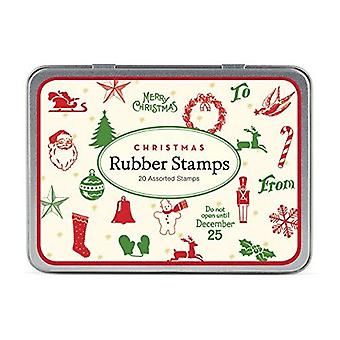 Cavallini Christmas Mini Rubber Stamp Set x 20 Candy Cane Stocking Bell - Craft Xmas