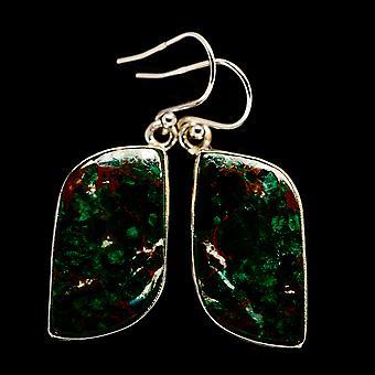 """Chrysocolla Earrings 1 3/4"""" (925 Sterling Silver)  - Handmade Boho Vintage Jewelry EARR400750"""