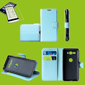 Huawei 社 P スマート 2019/10 Lite ポケット財布プレミアム ライト ブルー保護スリーブ ケース カバー ポーチ + 0、26 mm H9 2.5 硬質ガラスを称える