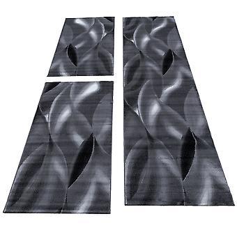 3 delen Rug Border Runner Set Waves Shadow Pattern Black Grey